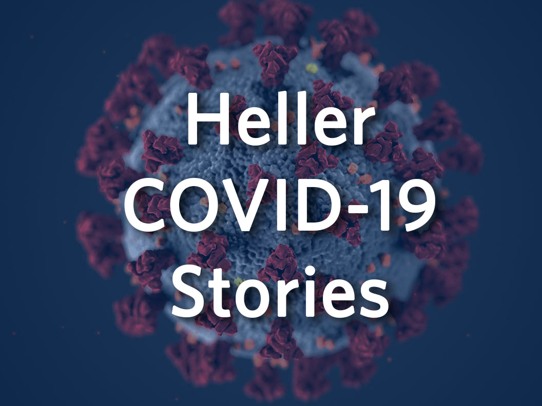 Heller COVID-19 Stories over an image of the coronavirus