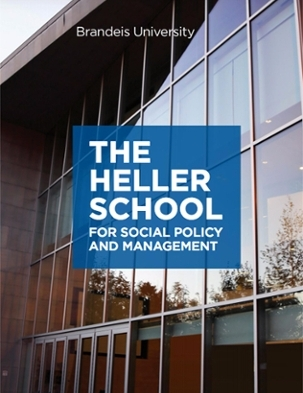 Cover of the Heller Viewbook with image of Heller building at twilight