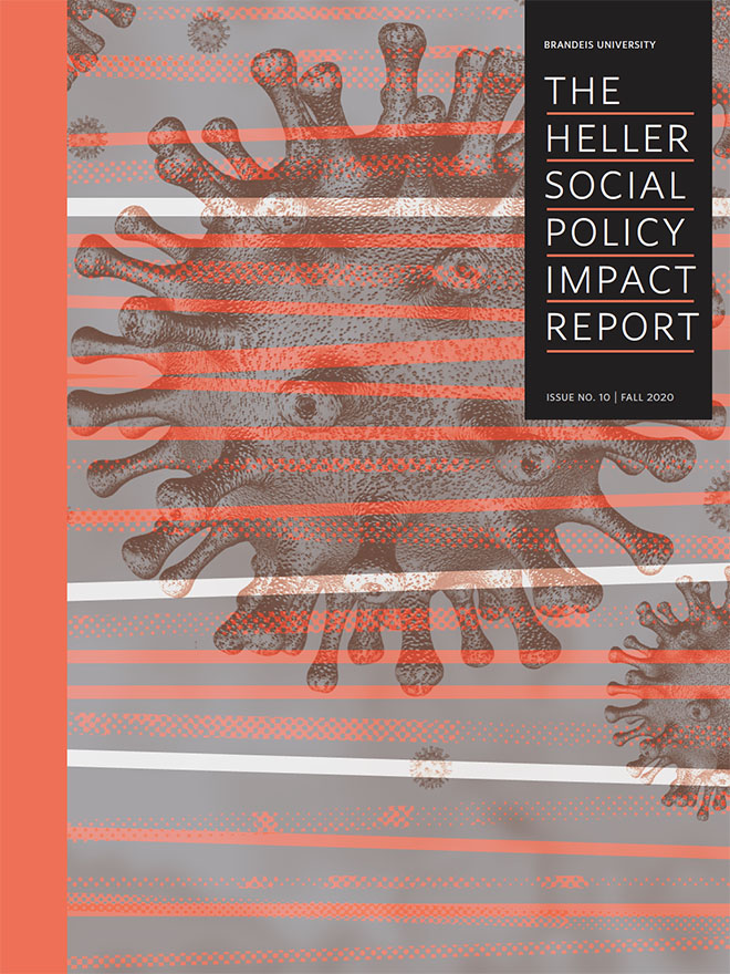 Cover of the 2020 Heller Social Policy Impact Report with coronavirus illustrations