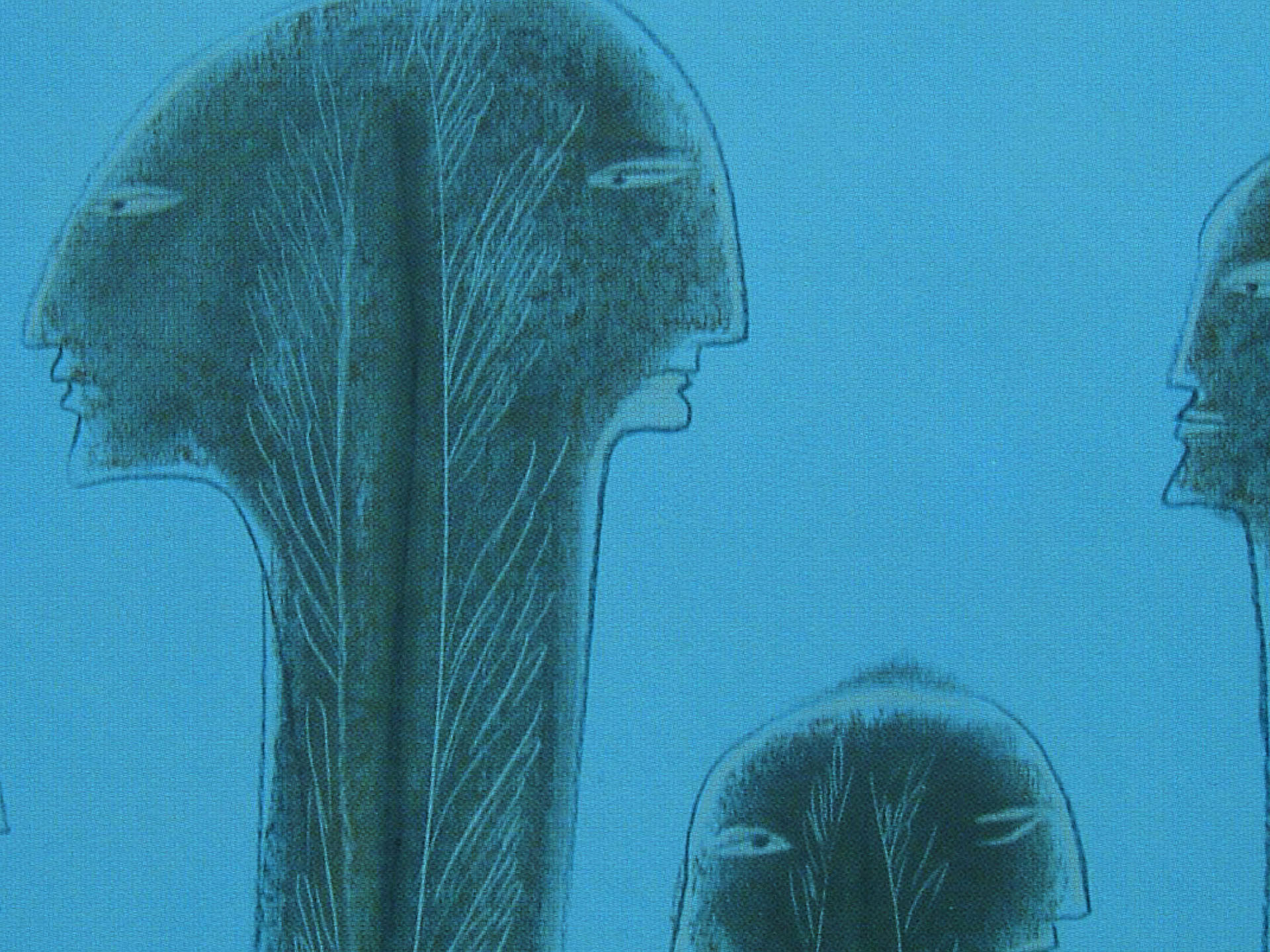 Blue illustration of heads for J-CASTE journal