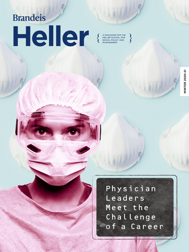 Cover of winter 2021 Heller Magazine with medical worker in personal protective equipment and background of N95 masks