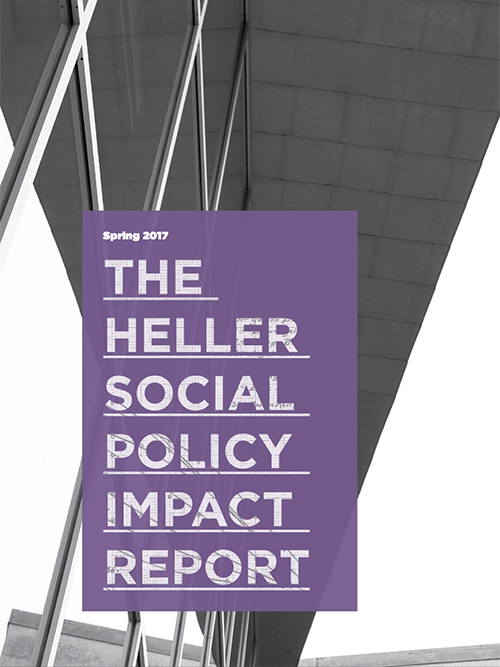 spring 2017 impact report cover with abstract image of Heller main windows